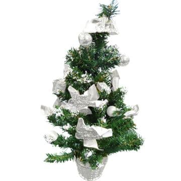 "2 x  22"" (56cm) SILVER ARTIFICIAL CHRISTMAS TREE in POT decoration ornament"